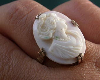 antique vintage deco victorian 9k gold genuine pinkish coral angel skin cameo woman's face carved stone ring free resize