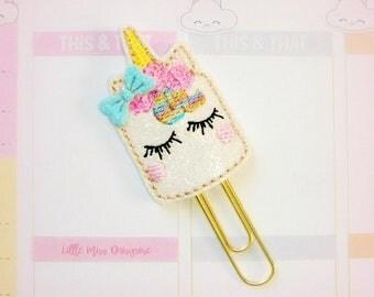 Unicorn Cake Glitter Planner Clip Paperclip
