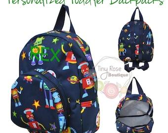 Toddler Backpack - Robot Booksack - Personalized School Bag, Book Bag, Mini Backpack