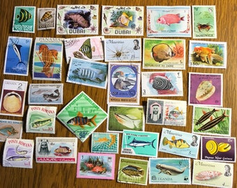 35 Fish, sealife, ocean marine life, tropical fish vintage Postage Stamps paper crafting collecting collage cards scrapbooks 9a