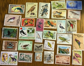 30 BIRD Used World Postage Stamps for crafting, collage, cards, altered art, scrapbooks, decoupage, history, collecting, philately 12a