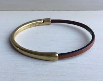 Mini BROWN leather cuff BRACELET half leather, half metal magnetic antique BRASS clasp bracelet