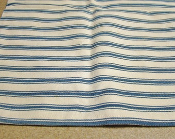 Vintage Blue Striped Ticking Pillow Cover Textile