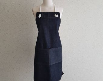 vintage denim cotton apron,marine, cafe vtg apron