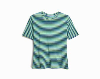 Vintage 70s Striped Tee in Green, Blue & White / Short Sleeve T-Shirt / Ribbed Top - women's medium