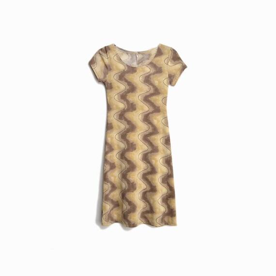 Vintage 90s Swirl Dress / Stretchy Lycra Dress in Tan & Beige - women's small
