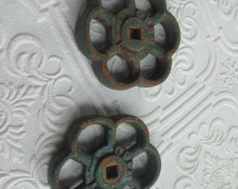 FAUCET HANDLES DISTRESSED - 2 Vintage 2 1/2 inch Rusty Green Flower Shaped Heavy for Steampunk Industrial Decor, Altered Art Projects