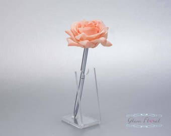 Coral Peach Rose Guestbook Pen. Silver Wedding Pen Set, Wedding Pen Holder, Real Touch Rose Flowers. Tea Rose Collection