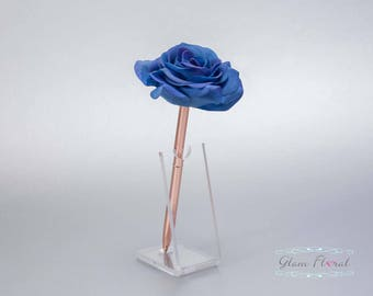 Royal Blue Rose Guestbook Pen. Rose Gold Wedding Pen Set, Wedding Pen Holder, Real Touch Rose Flowers. Sapphire, Cobalt. Tea Rose Collection