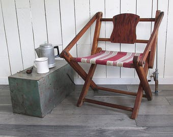 Unique, Rustic Wood & Canvas Folding Camp Chair - Nice Patina From Years of Use