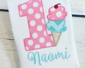 Pretty sweet ice cream appliqué birthday shirt, ice cream birthday, first birthday, girl birthday, ice cream party