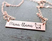 Mama Llama Gold Bar Necklace. Customize your own Names or Words. Simple Layering Bar Necklace. Rose Gold, Gold, or Silver. Ready To Ship