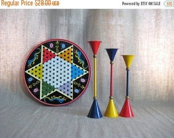 Because of The Brave Mid Century Mod Candle Holders / Three Retro Cool Candlesticks in Primary Colors / Mid Century Mod Candle Holders