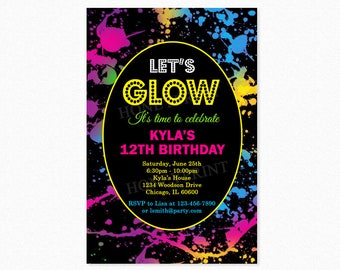 Glow Birthday Party Invitation, Neon Birthday Party Invitation, 80's Party Invitation, Retro Party, Personalized, Printable or Printed