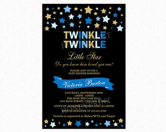 Twinkle Twinkle Little Star Baby Shower Invitation, Star Baby Shower Invitation, Blue, Gold Glitter, Personalized, Printable or Printed