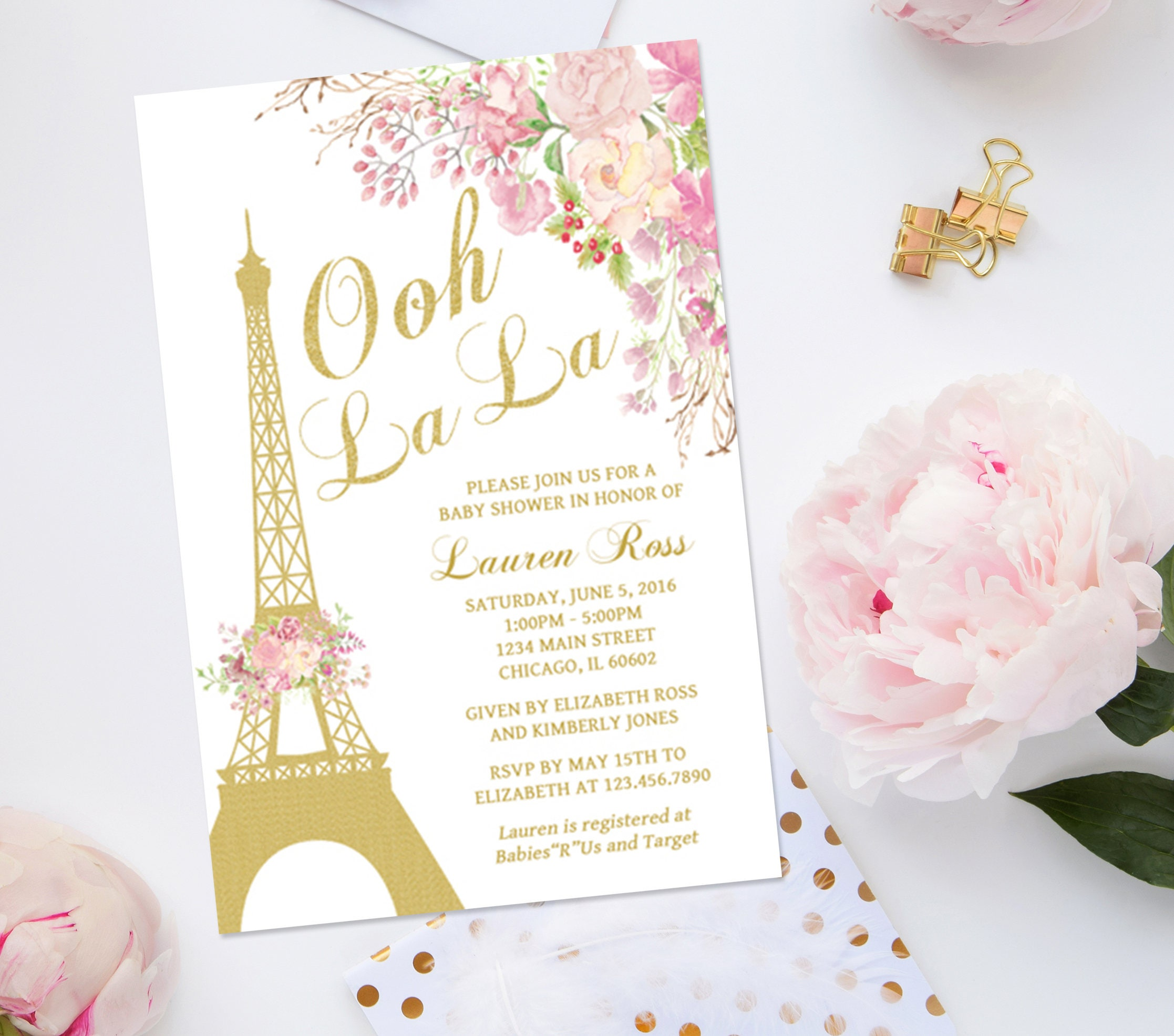 Paris Baby Shower Invitation French Baby Shower Invitation