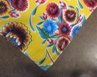 Square Bloom Yellow Oilcloth Tablecloth with Simple Hem
