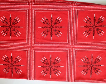 Vintage 1960s Red, Black, and White Candlestick Design Rectangular Holiday Tablecloth 47 by 90 Inches