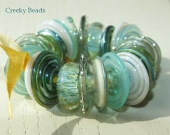 "Handmade Lampwork Disc beads ""mint""! Creeky Beads SRA"