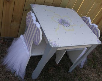Lavender, Pink, Desks, Tables & Chairs Set, Tea Party, TUTU Ballerinas, Ballet, Childs Table and Chairs