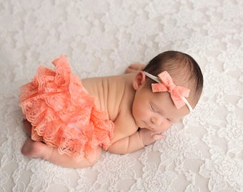 Coral Bloomer and Headband Set, Baby Bloomers, Lace Bloomers, Bloomer and Headband, Felt Bow Headband, Newborn Photography Prop