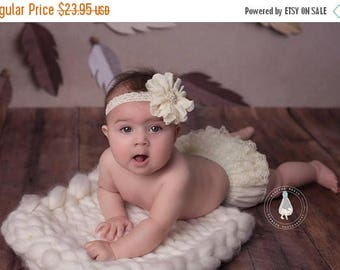 ON SALE Ivory Bloomer Set, bloomer with headband, baby bloomers, newborn bloomers, chiffon bloomers, ruffle bloomers, newborn photo prop