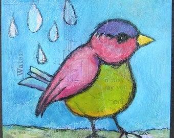 Bird Walking in the Rain