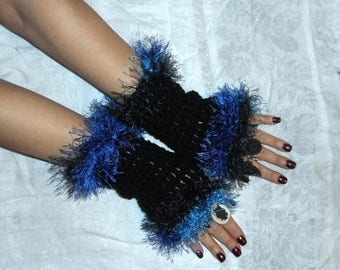 The Midnight Oil Gothic Fingerless Gloves Arm Warmers Black & Multi Ombre Midnight Navy Blue Fuzzy Hand Warmers Boho Driving Gloves Handmade