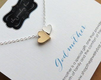 Godmother gift, double heart necklace, mixed metal, Christmas gift for Godmother, gold and silver bead, godparents