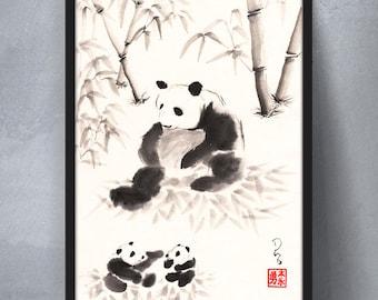 Panda Family - sumi-e watercolor painting - 5x7 (Print)