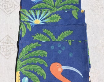 Napkins1424, Bright Set of Flamingo Napkins, Flamingo Napkins, Cotton Napkins, Party Napkins, Small Napkins, Small Napkin Set, Napkin Sets