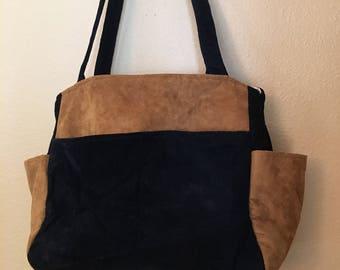 Katrina#1731, Black and Brown Ultra Suede Bag, Large Project Tote, Large Project Bag, Large Knitting Bag, Knitting Bag, Knitting Tote, Bags