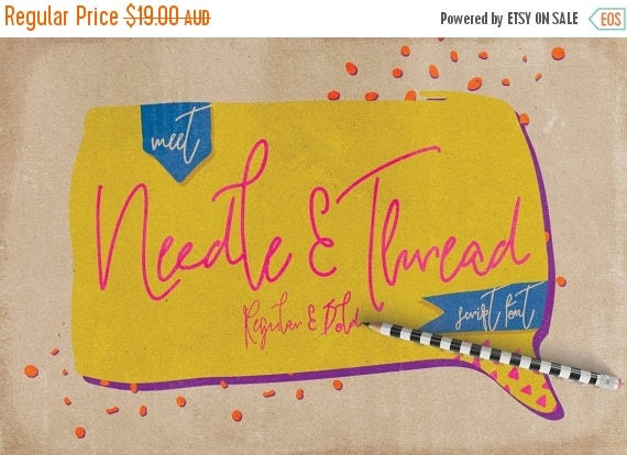 Digital Fonts 80% Off SALE Digital Fonts Needle and Thread - Digital Typeface - Hand drawn Fonts - Instant Download