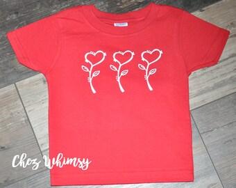 Valentine's Day Shirt, Heart Flowers in a Row, Red Shirt, Toddler Shirt, Red Short Sleeve Shirt, Heart Flower Design