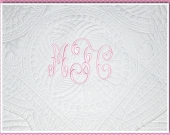 Monogrammed Baby Quilt, Heirloom Quilt, Scallop Edge Quilt, Baby Keepsake, Monogram Quilt, Personalized White Quilt