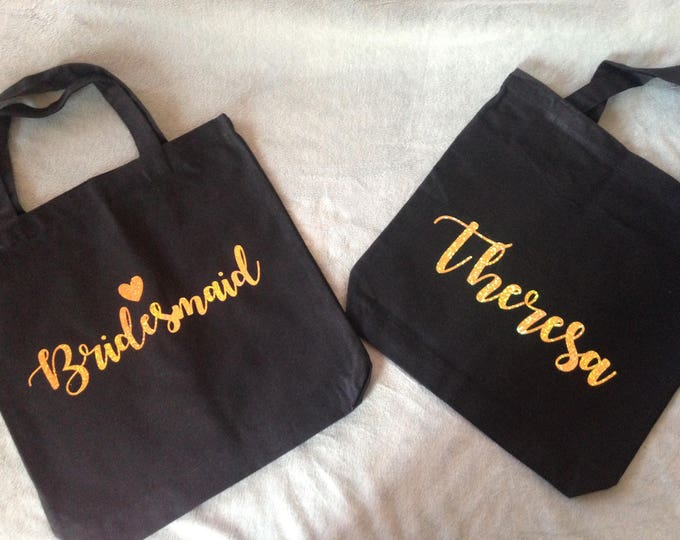 Bridal Shower Black Tote bags with gold writing available with custom name, bride tribe, bridesmaid gifts, bridal gifts, custom tote bag