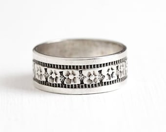 Vintage Sterling Silver Wide Flower Eternity Ring - Retro 1950s Size 6 1/2 Wide Cigar Band Stacking Floral Statement Classic Jewelry