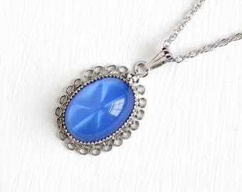 Vintage Sterling Silver Simulated Star Sapphire Necklace - 1940s Late Art Deco Blue Oval Glass Cabochon Pendant Cannetille Filigree Jewelry
