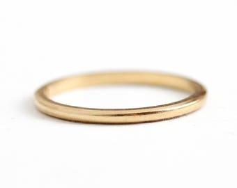 Gold Wedding Band - Vintage 14k Yellow Gold Milgrain Ring - Mid Century 1950s Size 5 1/2 Minimalist Fine Jewelry Traub Orange Blossom