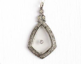 Camphor Glass Necklace - Vintage Silver Tone Art Deco Rhinestone Pendant - 1930s Frosted White Carved Glass Filigree Jewelry Sterling Chain