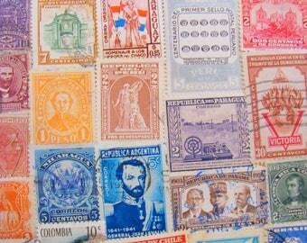 Latin Love 50 Vintage Latin American Postage Stamps Hispanic South America Central America Mexico Brasil Peru Guatemala Brazil Steampunk DR