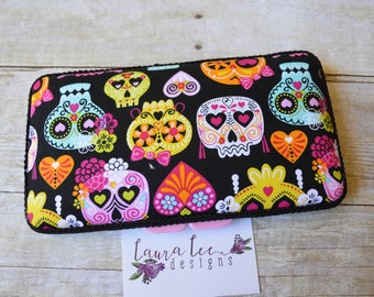 READY TO SHIP, Colorful Sugar Skulls Travel Baby Wipe Case, Diaper Wipes Case, Baby Shower Gift, Day of the Dead Wipe Holder, Wipe Clutch