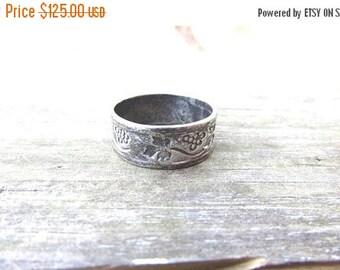 ON SALE Vintage Modernist Ed Levin Signed Sterling Grapevine Ring - Sterling Grapes & Leaves Levin Wedding Band Ring