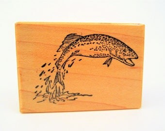 fish woodblock rubber stamp rare vintage 1983