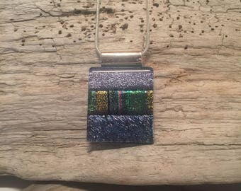 Jewelry, pendant necklace, Dichroic glass pendant, dichroic glass jewelry, dichroic glass, fused glass, handmade fused glass, glass jewelry