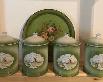 Antique Enamelware Graniteware Green Canister Set of 4 with a European Windmill Scene