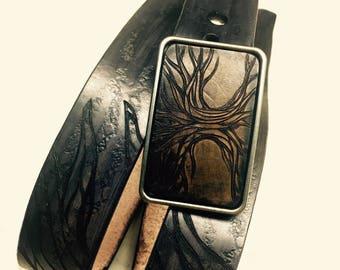 Mens Leather Belt, Artisan Belt, Custom Belt, Black, Anniversary Gift, Art on Leather, Yggdrasil
