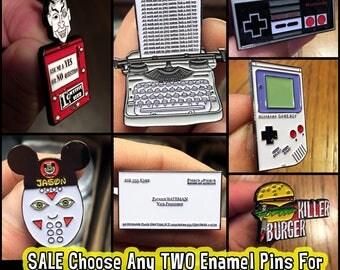 SALE Choose Any TWO Enamel Pins Horror Pins Pin Game Horror Enamel Pins Nintendo Jason Voorhees Gameboy Friday the 13th Enamel Pin Horror