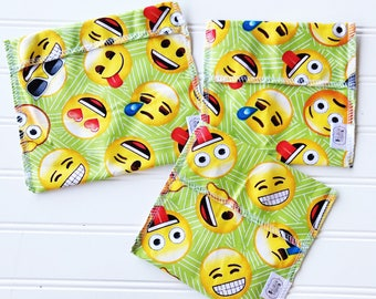 Reusable Ecofriendly Sandwich Bag and Snack Bags - Emoji - set of 3
