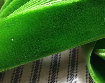 BY THE YARD Vintage Velvet Ribbon Trim, 7/8 inch wide Grass Green, Curtain or Pillow Trim Yardage, Perfect for Projects